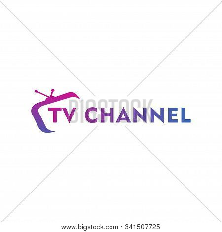 Live Streaming, Online Television, Web Tv, Simple And Clean Logo Concept, Abstract, Purple, Pink, Bl