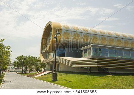 Baku Azerbaijan - July 07 2014: Azerbaijan Carpet Museum Show Azerbaijani Carpets And Rug Items Of V