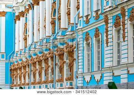 Tsarskoye Selo Palace In Pushkin City, Near Saint Petersburg Russia. Architecture And Travel In Euro