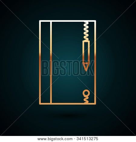 Gold Line Underwater Note Book And Pencil For Snorkeling Icon Isolated On Dark Blue Background. Wate