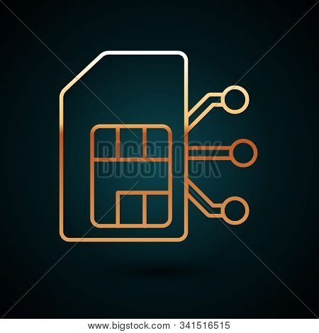 Gold Line Sim Card Icon Isolated On Dark Blue Background. Mobile Cellular Phone Sim Card Chip. Mobil