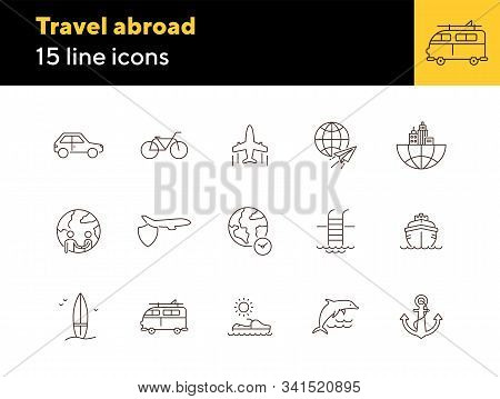 Travel Abroad Line Icon Set. Flight, Globe, City, Cruise. Vacation Concept. Can Be Used For Topics L