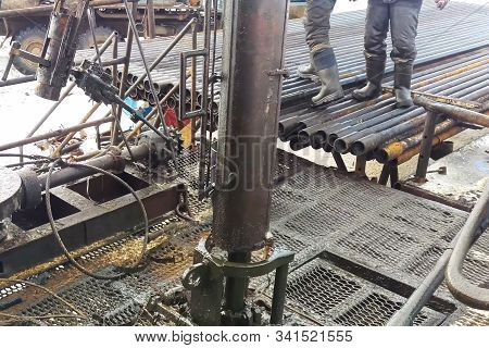 Drilling Work At The Well. Drill Rig, Rotation Of The Drill Pipe.