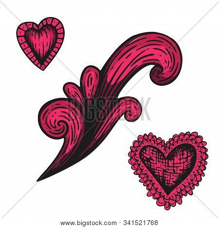 Handdrawn Etching Tatoo Heart With Element. Great Vector For Fabric And Print