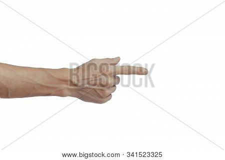 Mans Hand Touching Or Pointing To Something Isolated On White Background. Veins Are Visible On The A