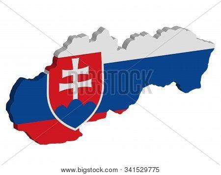Slovakia Map Flag Vector 3d Illustration Eps 10.