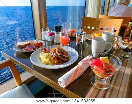 Dining Room Buffet Aboard The Abstract Luxury Cruise Ship. Selective Focus. Burgers