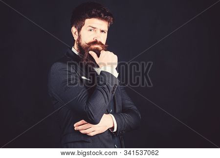 Man Bearded Guy Wear Suit Outfit. Perfect Elegant Tuxedo Outfit. Elegancy And Male Style. Fashion Co