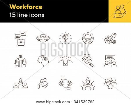 Workforce Line Icon Set. Work Process, Team, Staff, Employees, Rate. Human Resource Concept. Can Be