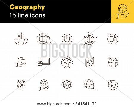 Geography Line Icon Set. Businessman, Globe, Map, Location Pointer. Travel Concept. Can Be Used For