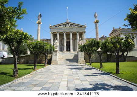 01 October 2018-athens, Greece. The Academy Of Athens, The Athenian Trilogy Consists Of Three Neocla