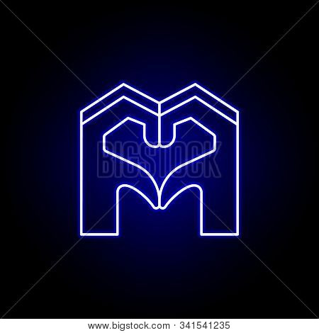Sympathy Hands Friendship Outline Blue Neon Icon. Elements Of Friendship Line Icon. Signs, Symbols A