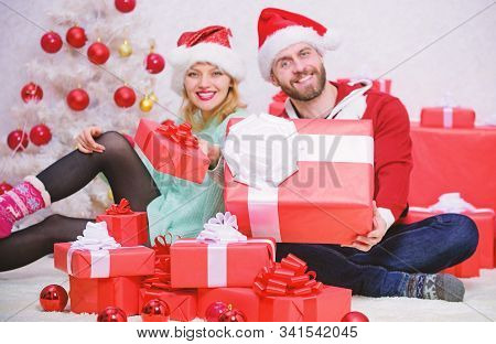 Love Is Best Gift. Family Married Couple At Home. Couple In Love Enjoy Winter Holiday Celebration. W