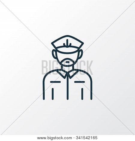 Captain Icon Line Symbol. Premium Quality Isolated Seaman Element In Trendy Style.