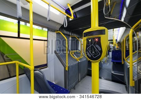 Validator, Modern Prepaid Ticketing System With Terminal, Fare In Public City Transport Such As Bus,