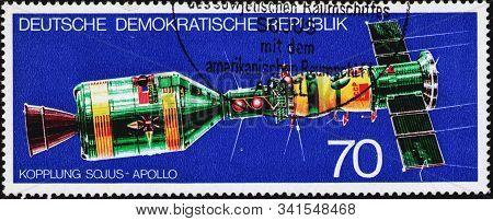 Saint Petersburg, Russia - December 19, 2019: Postage Stamp Issued In The German Democratic Republic