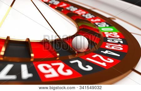 Luxury Casino Roulette Wheel. Casino Background Theme. Close-up White Casino Roulette With A Ball On