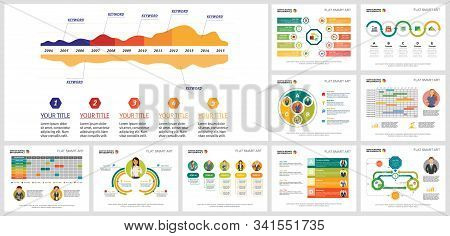 Colored Analytic Charts Design Set For Business Report, Annual Infographics, Presentation, Web. Busi