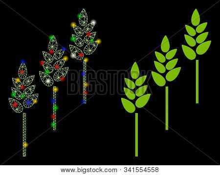 Flare Mesh Wheat Plants Icon With Glitter Effect. Abstract Illuminated Model Of Wheat Plants. Shiny