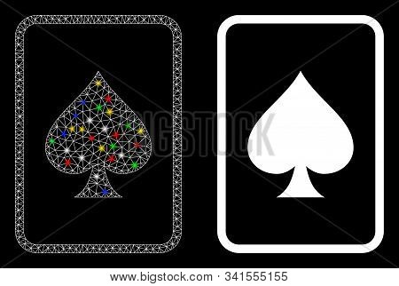 Glossy Mesh Spades Gambling Card Icon With Lightspot Effect. Abstract Illuminated Model Of Spades Ga