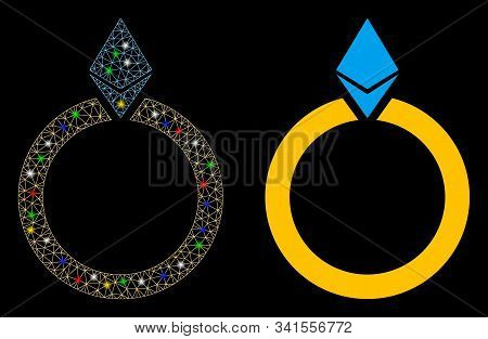 Glowing Mesh Ethereum Jewelry Ring Icon With Glitter Effect. Abstract Illuminated Model Of Ethereum