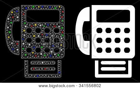 Bright Mesh Fax Machine Icon With Sparkle Effect. Abstract Illuminated Model Of Fax Machine. Shiny W