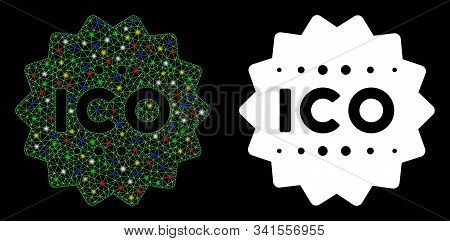 Glowing Mesh Ico Token Icon With Lightspot Effect. Abstract Illuminated Model Of Ico Token. Shiny Wi