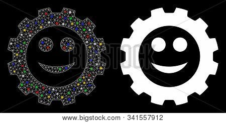 Glowing Mesh Gear Smile Smiley Icon With Glow Effect. Abstract Illuminated Model Of Gear Smile Smile