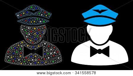 Glossy Mesh Airline Steward Icon With Lightspot Effect. Abstract Illuminated Model Of Airline Stewar