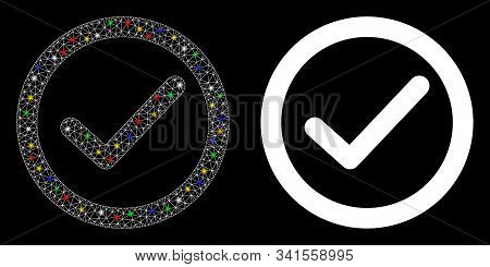 Flare Mesh Ok Option Icon With Glitter Effect. Abstract Illuminated Model Of Ok Option. Shiny Wire C