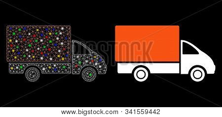Bright Mesh Shipment Car Icon With Glare Effect. Abstract Illuminated Model Of Shipment Car. Shiny W