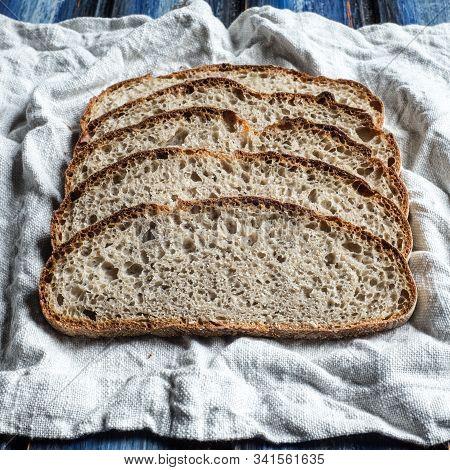 Buckwheat Sourdough Bread Slices On A Cloth