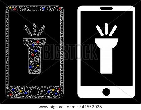 Glossy Mesh Mobile Torch App Icon With Glare Effect. Abstract Illuminated Model Of Mobile Torch App.
