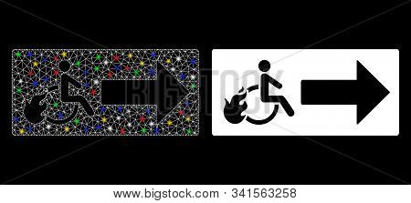 Flare Mesh Patient Exit Icon With Glitter Effect. Abstract Illuminated Model Of Patient Exit. Shiny