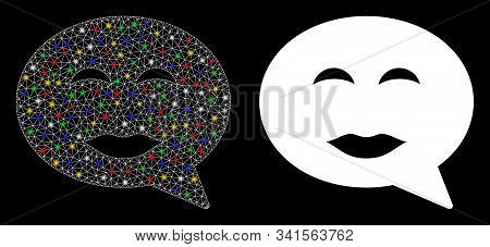 Glowing Mesh Lady Pleasure Smiley Message Icon With Glow Effect. Abstract Illuminated Model Of Lady