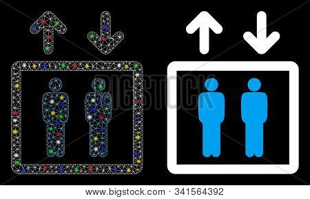 Glossy Mesh Human Elevator Icon With Glitter Effect. Abstract Illuminated Model Of Human Elevator. S