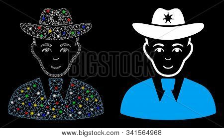 Glossy Mesh Sheriff Icon With Glitter Effect. Abstract Illuminated Model Of Sheriff. Shiny Wire Fram