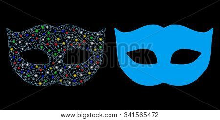 Glossy Mesh Privacy Mask Icon With Sparkle Effect. Abstract Illuminated Model Of Privacy Mask. Shiny