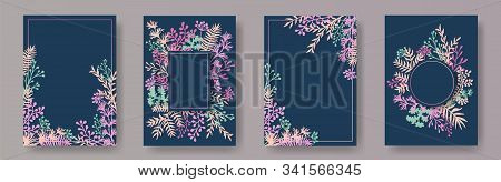 Tropical Herb Twigs, Tree Branches, Flowers Floral Invitation Cards Templates. Plants Borders Rustic