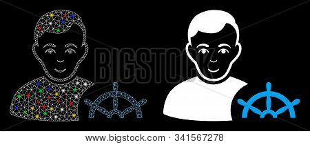 Glowing Mesh Captain Icon With Glare Effect. Abstract Illuminated Model Of Captain. Shiny Wire Carca