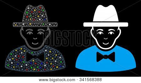 Glossy Mesh Spy Icon With Glow Effect. Abstract Illuminated Model Of Spy. Shiny Wire Carcass Triangu