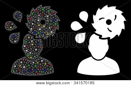 Flare Mesh Circular Saw Accident Icon With Sparkle Effect. Abstract Illuminated Model Of Circular Sa