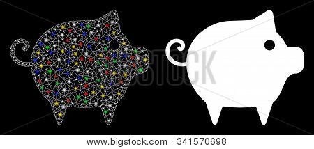 Glossy Mesh Piggy Icon With Glitter Effect. Abstract Illuminated Model Of Piggy. Shiny Wire Frame Tr