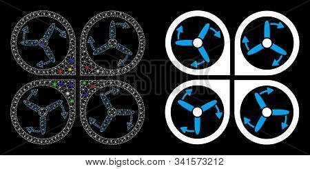 Flare Mesh Copter Screws Rotation Icon With Sparkle Effect. Abstract Illuminated Model Of Copter Scr