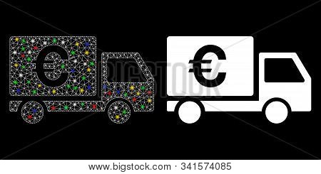 Flare Mesh Euro Shipment Icon With Glow Effect. Abstract Illuminated Model Of Euro Shipment. Shiny W