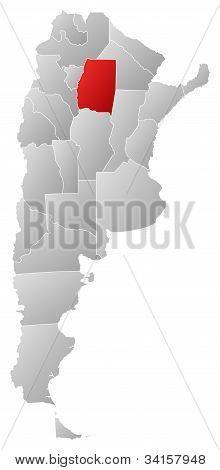 Map Of Argentina, Santiago Del Estero Highlighted