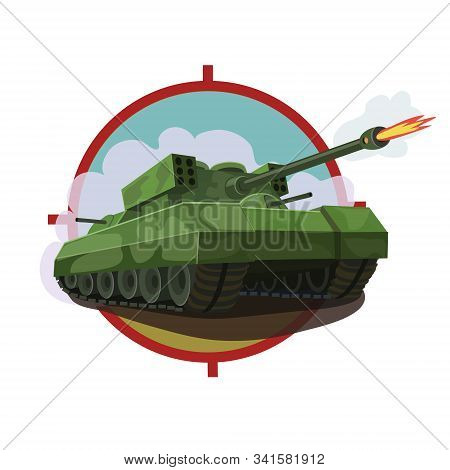 Armored Tank With A Rocket Launcher, Equipped With Machine Guns Around The Tank And Disguised As Com