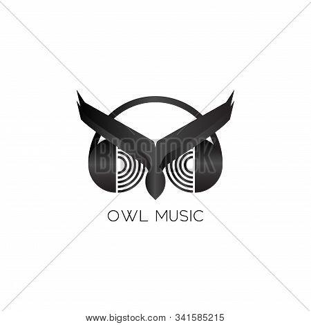 Owl Music Logo Design Template, Listen To Music With Headphone, Animal Logo Concept, Night Bird, Aud