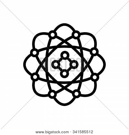 Black Line Icon For Model  Technology Business  Physics Molecules Molecule Chemistry Atom Nucleus  P