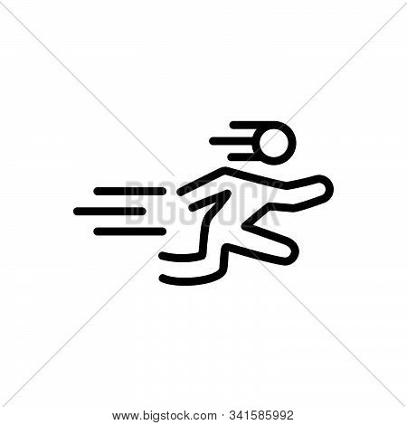 Black Line Icon For Fast Speed Run Rapid Intense Acute Accelerated